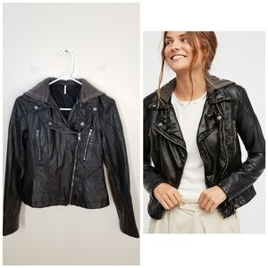 Free People | vegan leather moto jacket with hood